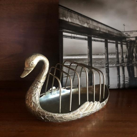 Vintage Brass Etched Swan Mail Holder Trinket Dish